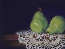 Two Green Pears on Antique Doily